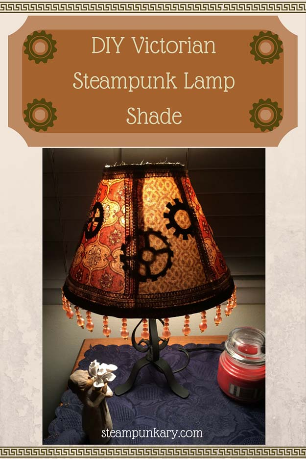 Cool Steampunk DIY Ideas - DIY Victorian Steampunk Lamp Shade - Easy Home Decor, Costume Ideas, Jewelry, Crafts, Furniture and Steampunk Fashion Tutorials - Clothes, Accessories and Best Step by Step Tutorials - Creative DIY Projects for Adults, Teens and Tweens