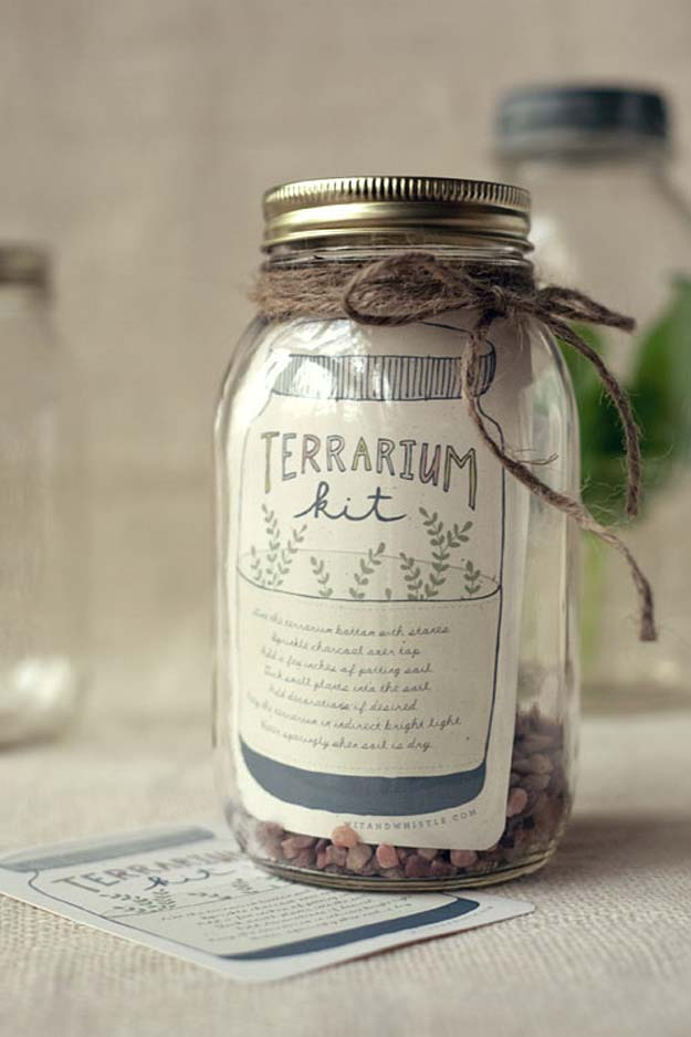 Cute DIY Mason Jar Gift Ideas for Teens - DIY Terrarium Kit - Best Christmas Presents, Birthday Gifts and Cool Room Decor Ideas for Girls and Boy Teenagers - Fun Crafts and DIY Projects for Snow Globes, Dollar Store Crafts and Valentines for Kids