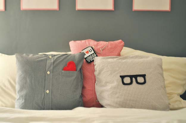 Cool DIY Gifts to Make For Your Boyfriend - DIY Pillows Made from Daddy's Shirts - Easy, Cheap and Awesome Gift Ideas to Make for Guys - Fun Crafts and Presents to Give to Boyfriends - Men Love These Gift Card Holders, Mason Jar Kits, Thoughtful Handmade Christmas Gifts - DIY Projects for Teens http://diyprojectsforteens.com/diy-gifts-boyfriend