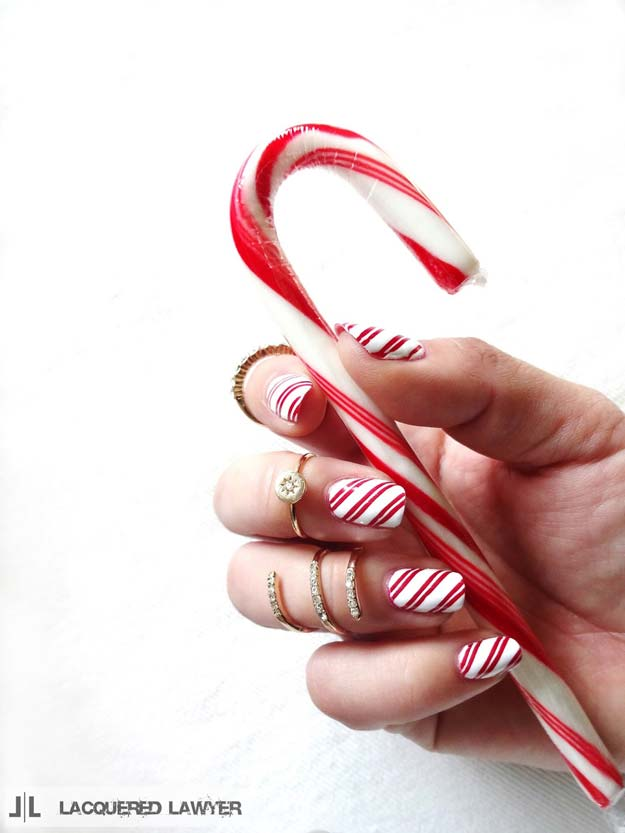 Cool DIY Nail Art Designs and Patterns for Christmas and Holidays -DIY Candy Cane Lane Nails - Do It Yourself Manicure Ideas With Christmas Trees, Candy Canes, Snowflakes and Glittery Designs for Holiday Nails - Step by Step Tutorials and Instructions http://diyprojectsforteens.com/holiday-nail-art-patterns/