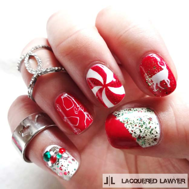 46 creative holiday nail art patterns cool diy nail art designs and patterns for christmas and holidays diy christmas nail art solutioingenieria Image collections