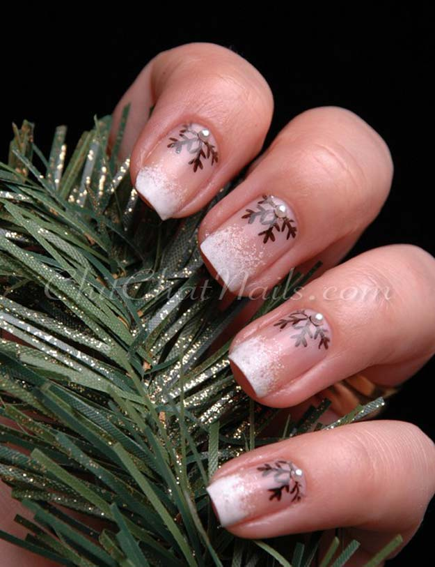 Cool DIY Nail Art Designs and Patterns for Christmas and Holidays -DIY Snowflake Half-Moon Nails - Do It Yourself Manicure Ideas With Christmas Trees, Candy Canes, Snowflakes and Glittery Designs for Holiday Nails - Step by Step Tutorials and Instructions http://diyprojectsforteens.com/holiday-nail-art-patterns/