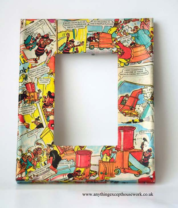 Cool DIY Gifts to Make For Your Boyfriend - DIY Decoupage Picture Frames Using Comics - Easy, Cheap and Awesome Gift Ideas to Make for Guys - Fun Crafts and Presents to Give to Boyfriends - Men Love These Gift Card Holders, Mason Jar Kits, Thoughtful Handmade Christmas Gifts - DIY Projects for Teens http://diyprojectsforteens.com/diy-gifts-boyfriend