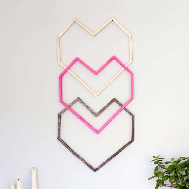 DIY Wall Art Ideas for Teen Rooms - DIY Geometric Heart Wall Art - Cheap and Easy Wall Art Projects for Teenagers - Girls and Boys Crafts for Walls in Bedrooms - Fun Home Decor on A Budget - Cool Canvas Art, Paintings and DIY Projects for Teens