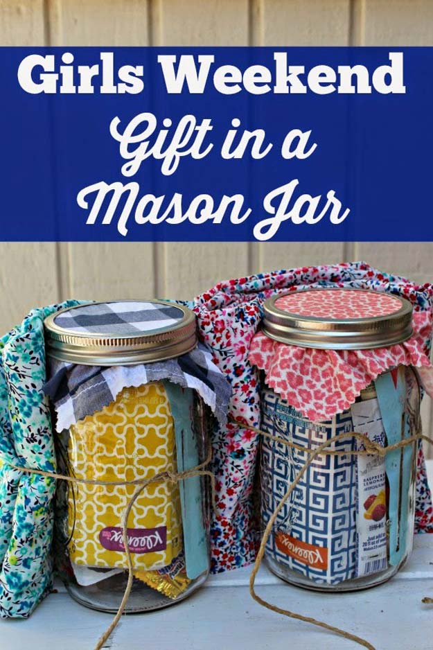 Cute DIY Mason Jar Gift Ideas for Teens - DIY Girls Weekend Gift in a Mason Jar - Best Christmas Presents, Birthday Gifts and Cool Room Decor Ideas for Girls and Boy Teenagers - Fun Crafts and DIY Projects for Snow Globes, Dollar Store Crafts and Valentines for Kids