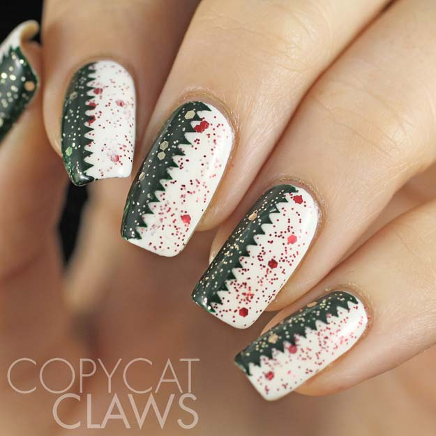 Cool DIY Nail Art Designs and Patterns for Christmas and Holidays -DIY Zig Zag Christmas Nails - Do It Yourself Manicure Ideas With Christmas Trees, Candy Canes, Snowflakes and Glittery Designs for Holiday Nails - Step by Step Tutorials and Instructions http://diyprojectsforteens.com/holiday-nail-art-patterns/