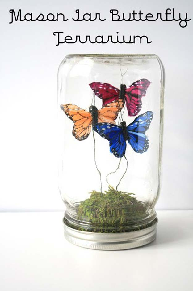 Cute DIY Mason Jar Gift Ideas for Teens - DIY Mason Jar Butterfly Terrarium - Best Christmas Presents, Birthday Gifts and Cool Room Decor Ideas for Girls and Boy Teenagers - Fun Crafts and DIY Projects for Snow Globes, Dollar Store Crafts and Valentines for Kids