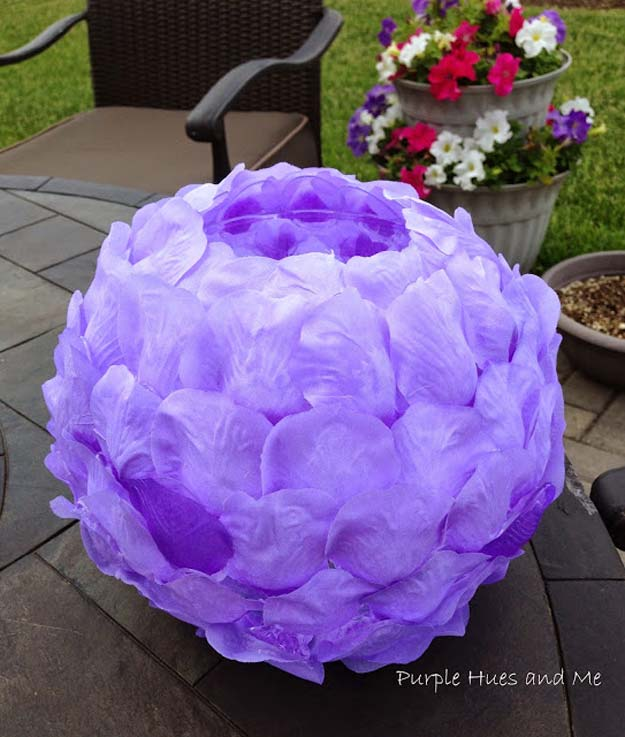 DIY Purple Room Decor - DIY Rose Petals Luminary- Best Bedroom Ideas and Projects in Purple - Cool Accessories, Crafts, Wall Art, Lamps, Rugs, Pillows for Adults, Teen and Girls Room