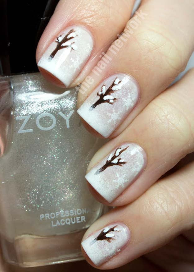 Cool DIY Nail Art Designs and Patterns for Christmas and Holidays -DIY Snowy Winter Tree Nail Art - Do It Yourself Manicure Ideas With Christmas Trees, Candy Canes, Snowflakes and Glittery Designs for Holiday Nails - Step by Step Tutorials and Instructions http://diyprojectsforteens.com/holiday-nail-art-patterns/