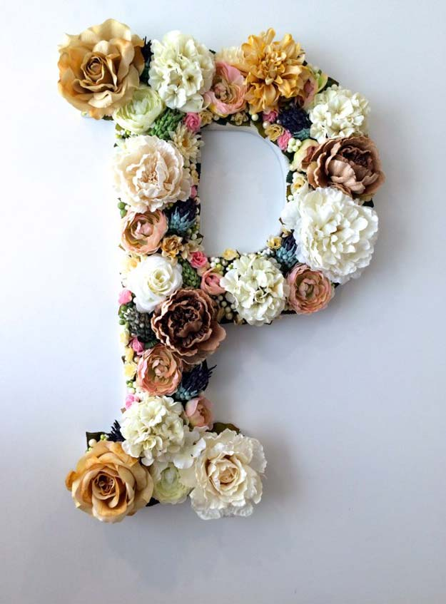 Cool Glue Gun Crafts and DIY Projects - DIY Flower Letter - Creative Ways to Use Your Glue Gun for Awesome Home Decor, DIY Gifts , Jewelry and Fashion - Fun Projects and Easy, Cheap DIY Ideas for Kids, Adults and Teens - Handmade Christmas Presents on A Budget