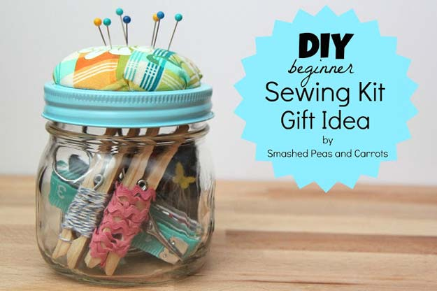 Cute DIY Mason Jar Gift Ideas for Teens - DIY Sewing Kit - Best Christmas Presents, Birthday Gifts and Cool Room Decor Ideas for Girls and Boy Teenagers - Fun Crafts and DIY Projects for Snow Globes, Dollar Store Crafts and Valentines for Kids