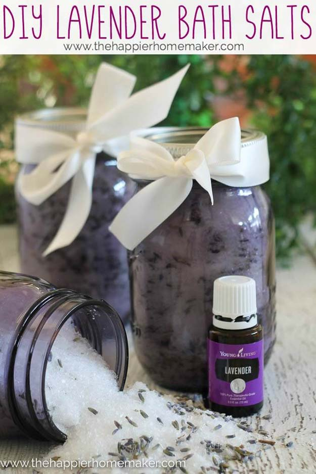 Cute DIY Mason Jar Gift Ideas for Teens - DIY Homemade Lavender Bath Salts - Best Christmas Presents, Birthday Gifts and Cool Room Decor Ideas for Girls and Boy Teenagers - Fun Crafts and DIY Projects for Snow Globes, Dollar Store Crafts and Valentines for Kids