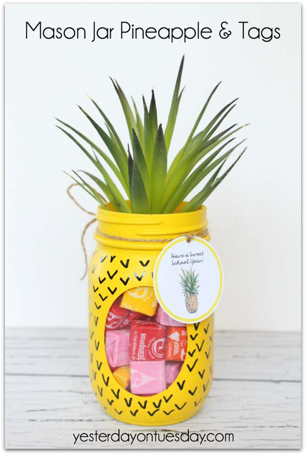 Cute DIY Mason Jar Gift Ideas for Teens - DIY Mason Jar Pineapple - Best Christmas Presents, Birthday Gifts and Cool Room Decor Ideas for Girls and Boy Teenagers - Fun Crafts and DIY Projects for Snow Globes, Dollar Store Crafts and Valentines for Kids
