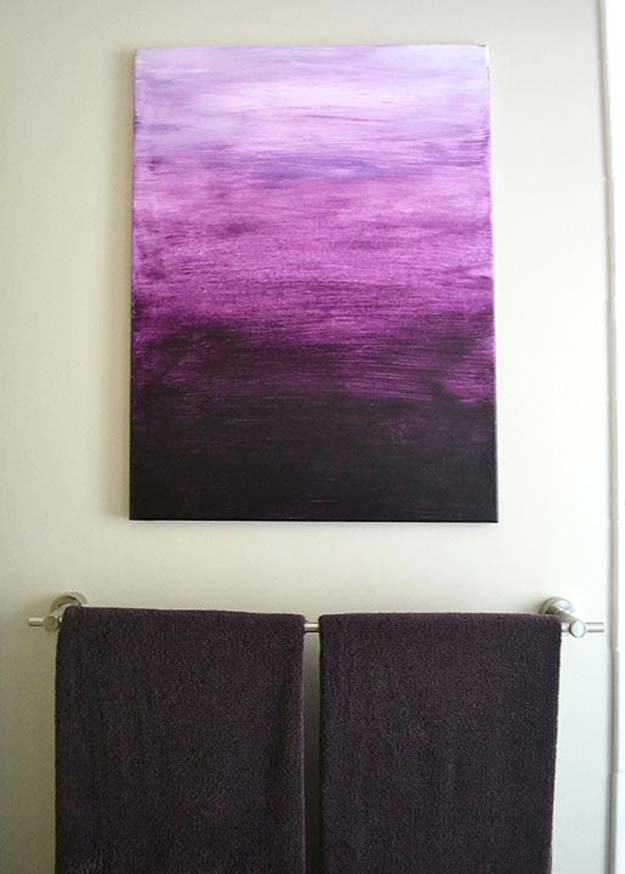 DIY Purple Room Decor - DIY Purple Ombre Painting- Best Bedroom Ideas and Projects in Purple - Cool Accessories, Crafts, Wall Art, Lamps, Rugs, Pillows for Adults, Teen and Girls Room http://diyprojectsforteens.com/diy-room-decor-purple