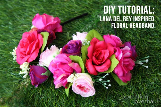 Cool Glue Gun Crafts and DIY Projects - DIY Lana Del Rey Inspired Floral Headband - Creative Ways to Use Your Glue Gun for Awesome Home Decor, DIY Gifts , Jewelry and Fashion - Fun Projects and Easy, Cheap DIY Ideas for Kids, Adults and Teens - Handmade Christmas Presents on A Budget