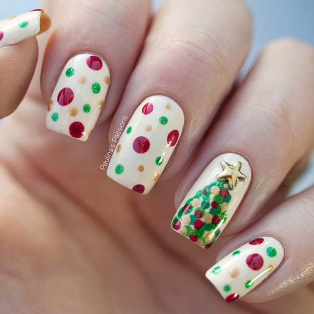 Cool DIY Nail Art Designs and Patterns for Christmas and Holidays - DIY Dotticured Christmas Tree Nails - Do It Yourself Manicure Ideas With Christmas Trees, Candy Canes, Snowflakes and Glittery Designs for Holiday Nails - Step by Step Tutorials and Instructions http://diyprojectsforteens.com/holiday-nail-art-patterns/