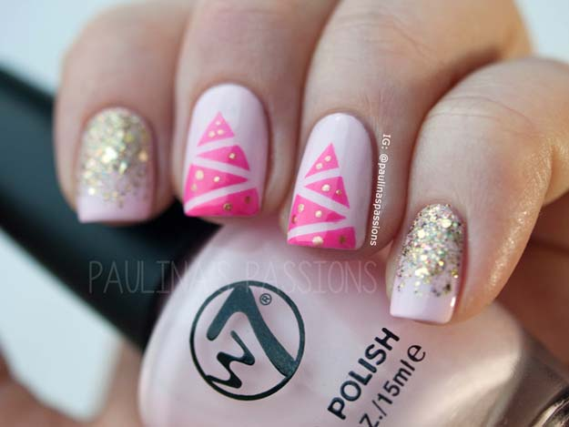 Cool DIY Nail Art Designs and Patterns for Christmas and Holidays - DIY Pink Christmas Tree Nails - Do It Yourself Manicure Ideas With Christmas Trees, Candy Canes, Snowflakes and Glittery Designs for Holiday Nails - Step by Step Tutorials and Instructions http://diyprojectsforteens.com/holiday-nail-art-patterns/