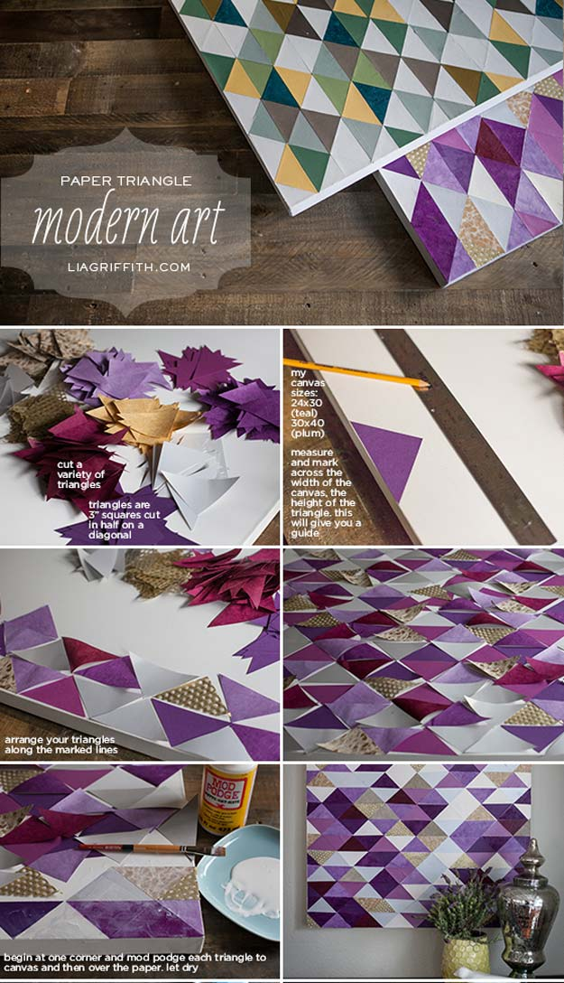 DIY Purple Room Decor - DIY Paper Triangles- Best Bedroom Ideas and Projects in Purple - Cool Accessories, Crafts, Wall Art, Lamps, Rugs, Pillows for Adults, Teen and Girls Room http://diyprojectsforteens.com/diy-room-decor-purple