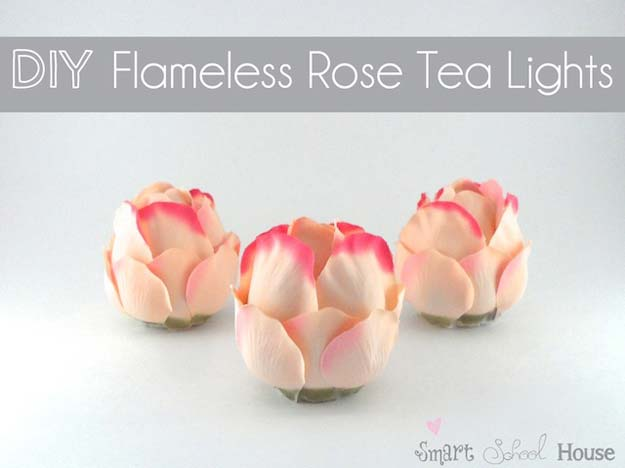 Cool Glue Gun Crafts and DIY Projects - DIY Flameless Rose Tea Lights - Creative Ways to Use Your Glue Gun for Awesome Home Decor, DIY Gifts , Jewelry and Fashion - Fun Projects and Easy, Cheap DIY Ideas for Kids, Adults and Teens - Handmade Christmas Presents on A Budget http://diyprojectsforteens.com/fun-glue-gun-crafts/