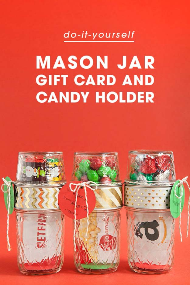 Holder Cute Diy Mason Jar Gift Ideas For S Card Candy