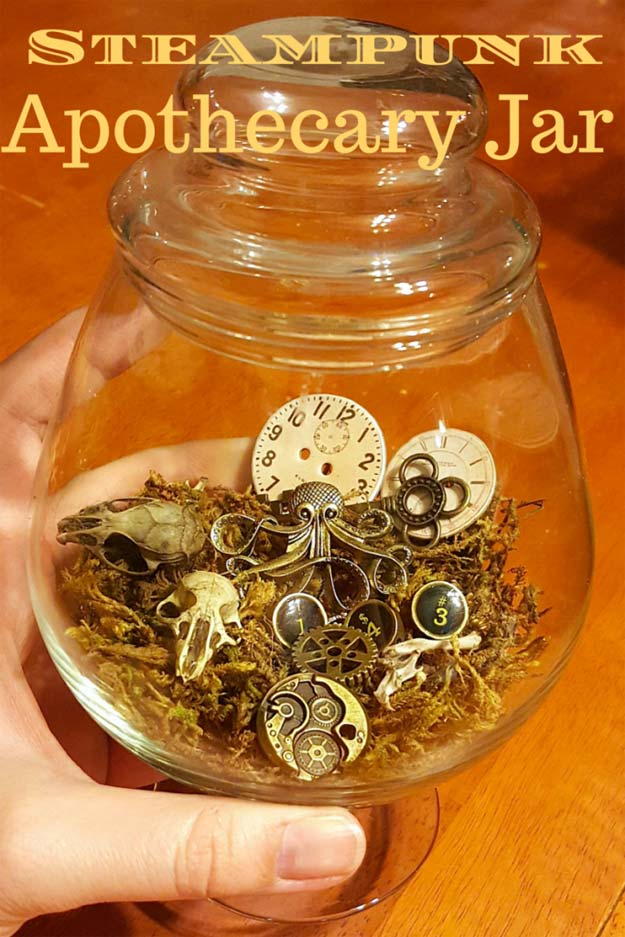 Cool Steampunk DIY Ideas - DIY Steampunk Apothecary Jar - Easy Home Decor, Costume Ideas, Jewelry, Crafts, Furniture and Steampunk Fashion Tutorials - Clothes, Accessories and Best Step by Step Tutorials - Creative DIY Projects for Adults, Teens and Tweens
