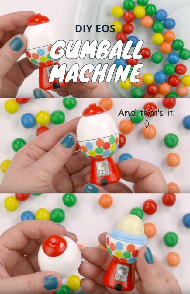 Best DIY EOS Projects - DIY Gumball Machine - Turn Old EOS Containers Into Cool Crafts Ideas Like Lip Balm, Galaxy, Gumball Machine, and Watermelon - Fun, Cheap and Easy DIY Projects Tutorials and Videos for Teens, Tweens, Kids and Adults s