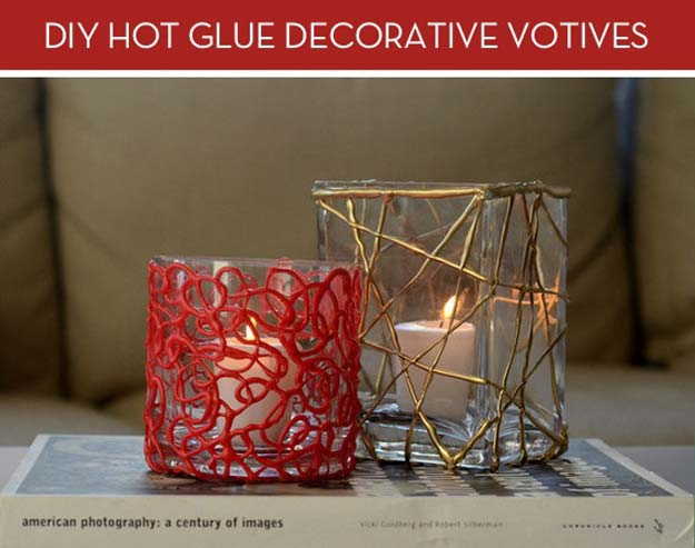 Cool Glue Gun Crafts and DIY Projects - DIY Candle Holder - Creative Ways to Use Your Glue Gun for Awesome Home Decor, DIY Gifts , Jewelry and Fashion - Fun Projects and Easy, Cheap DIY Ideas for Kids, Adults and Teens - Handmade Christmas Presents on A Budget http://diyprojectsforteens.com/fun-glue-gun-crafts/
