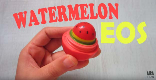 Best DIY EOS Projects - DIY Watermelon EOS - Turn Old EOS Containers Into Cool Crafts Ideas Like Lip Balm, Galaxy, Gumball Machine, and Watermelon - Fun, Cheap and Easy DIY Projects Tutorials and Videos for Teens, Tweens, Kids and Adults s