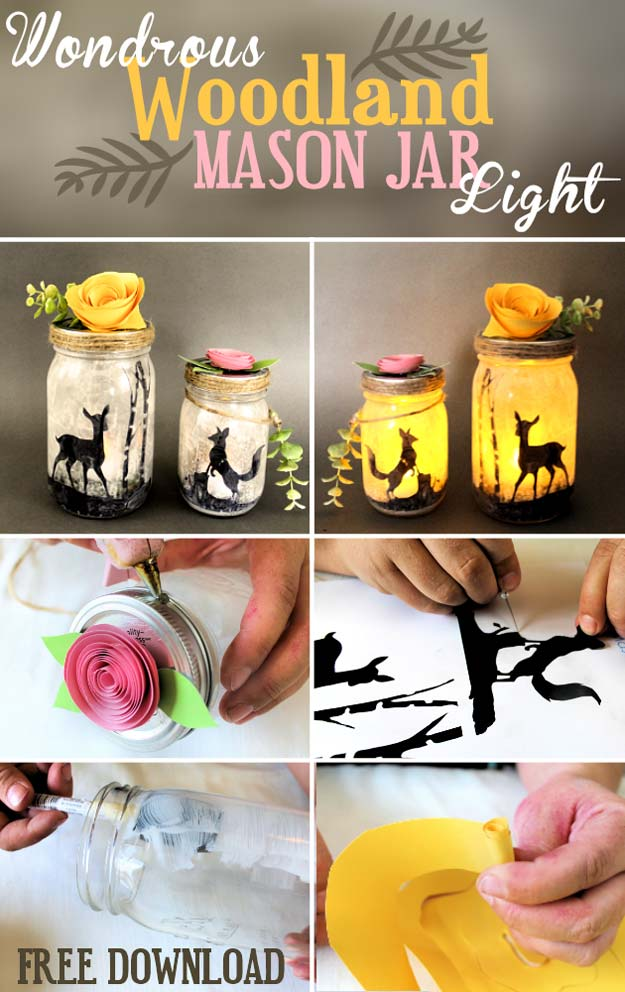 Cute DIY Mason Jar Gift Ideas for Teens - DIY Woodland Mason Jar Light - Best Christmas Presents, Birthday Gifts and Cool Room Decor Ideas for Girls and Boy Teenagers - Fun Crafts and DIY Projects for Snow Globes, Dollar Store Crafts and Valentines for Kids