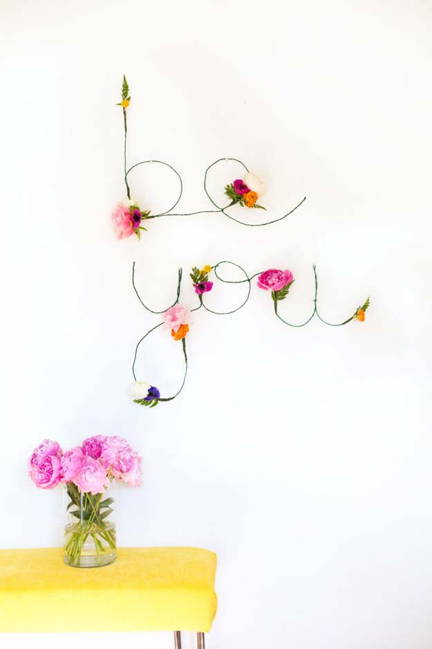 DIY Wall Art Ideas For Teen Rooms   DIY Floral And Wire Words   Cheap And