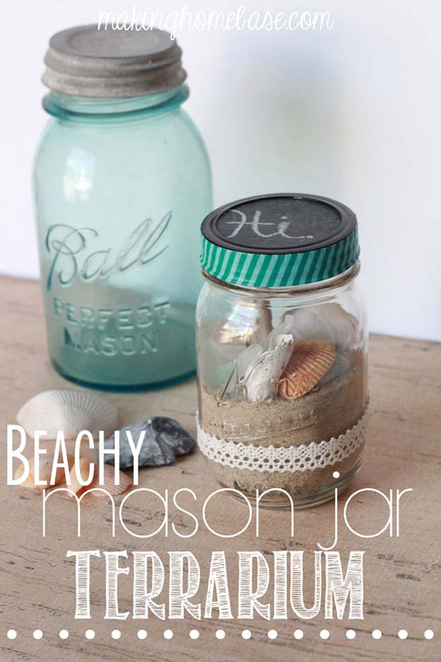 Cute DIY Mason Jar Gift Ideas for Teens - DIY Beachy Mason Jar Terrarium - Best Christmas Presents, Birthday Gifts and Cool Room Decor Ideas for Girls and Boy Teenagers - Fun Crafts and DIY Projects for Snow Globes, Dollar Store Crafts and Valentines for Kids