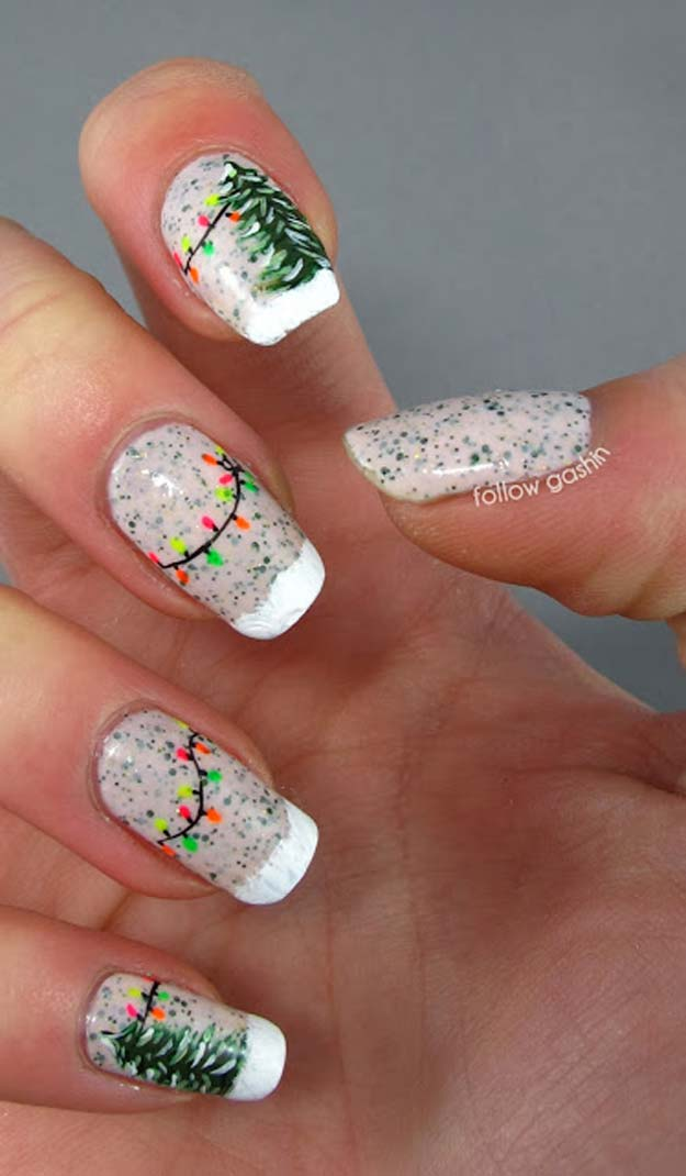 Cool DIY Nail Art Designs and Patterns for Christmas and Holidays - DIY Between Two Fir Trees - Do It Yourself Manicure Ideas With Christmas Trees, Candy Canes, Snowflakes and Glittery Designs for Holiday Nails - Step by Step Tutorials and Instructions http://diyprojectsforteens.com/holiday-nail-art-patterns/