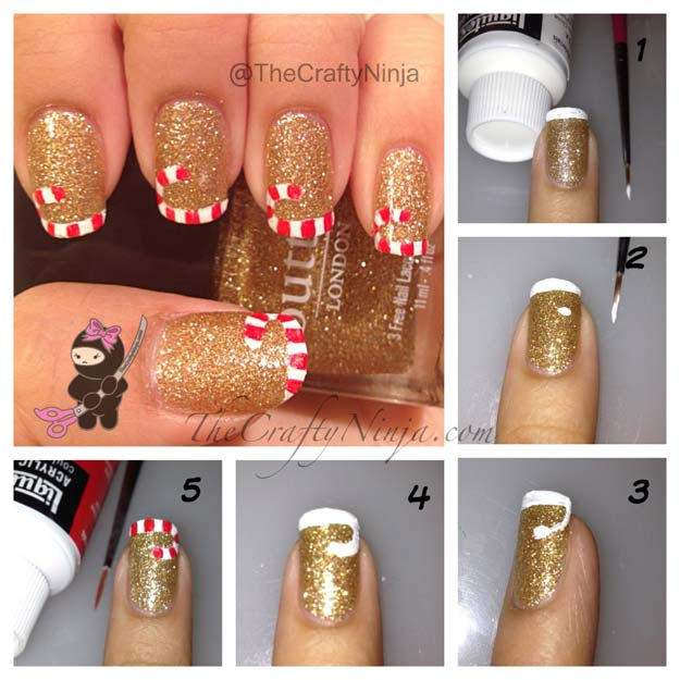 Cool DIY Nail Art Designs and Patterns for Christmas and Holidays - DIY Candy Cane French Tip Nails - Do It Yourself Manicure Ideas With Christmas Trees, Candy Canes, Snowflakes and Glittery Designs for Holiday Nails - Step by Step Tutorials and Instructions http://diyprojectsforteens.com/holiday-nail-art-patterns/