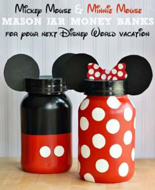 Cute DIY Mason Jar Gift Ideas for Teens - DIY Minnie & Micky Mouse Mason Jar Money Banks - Best Christmas Presents, Birthday Gifts and Cool Room Decor Ideas for Girls and Boy Teenagers - Fun Crafts and DIY Projects for Snow Globes, Dollar Store Crafts and Valentines for Kids
