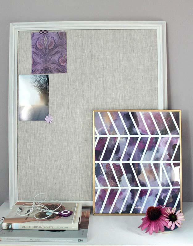 DIY Purple Room Decor - DIY: Linen Pin Board + Chevron Wall Art - Best