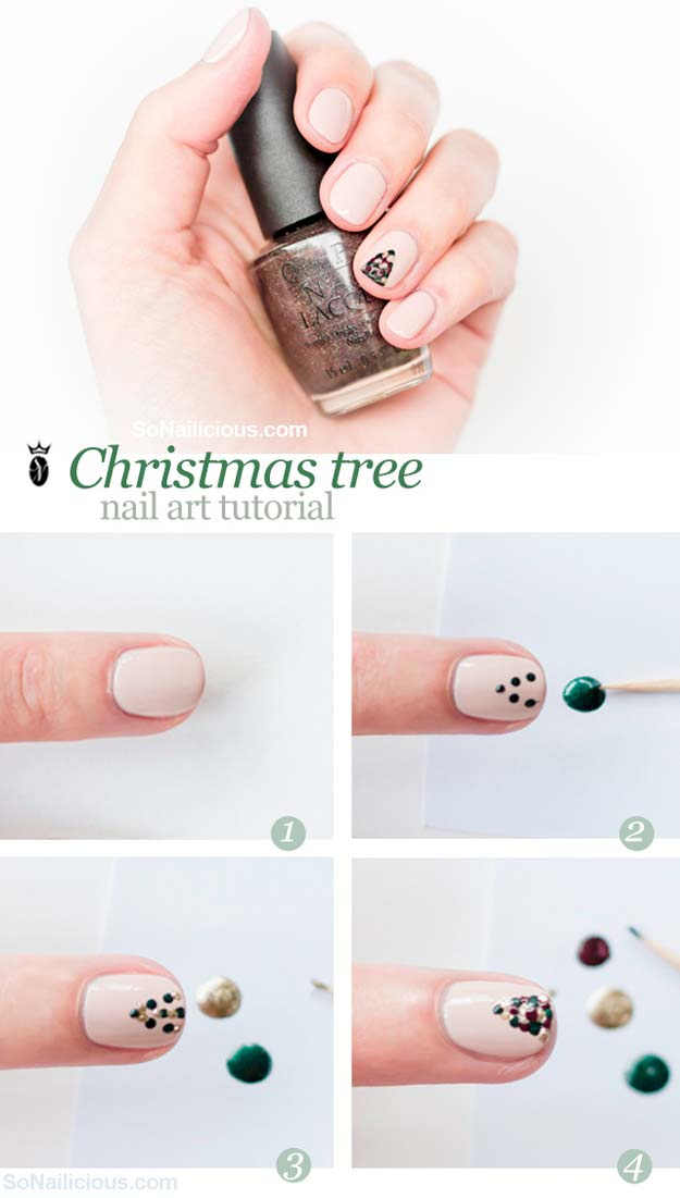 Cool DIY Nail Art Designs and Patterns for Christmas and Holidays -DIY Christmas Tree Nail Art Tutorial - Do It Yourself Manicure Ideas With Christmas Trees, Candy Canes, Snowflakes and Glittery Designs for Holiday Nails - Step by Step Tutorials and Instructions http://diyprojectsforteens.com/holiday-nail-art-patterns/