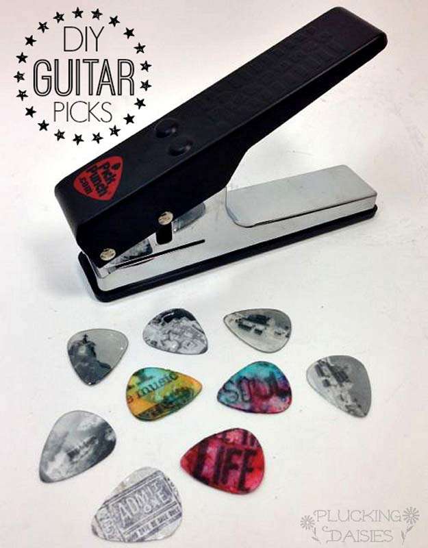 Cool DIY Gifts to Make For Your Boyfriend - DIY Custom Guitar Picks with Pick Punch - Easy, Cheap and Awesome Gift Ideas to Make for Guys - Fun Crafts and Presents to Give to Boyfriends - Men Love These Gift Card Holders, Mason Jar Kits, Thoughtful Handmade Christmas Gifts - DIY Projects for Teens #diygifts #teencrafts