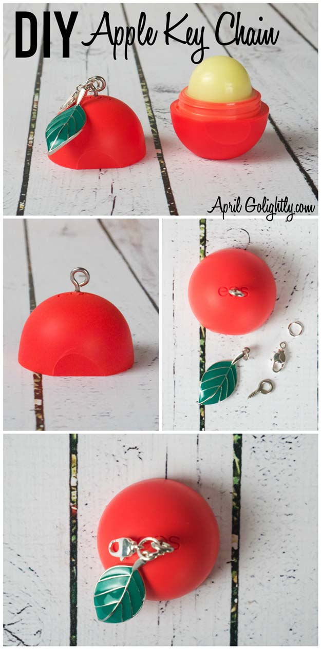 Best DIY EOS Projects - DIY Apple Key Chain - Turn Old EOS Containers Into Cool Crafts Ideas Like Lip Balm, Galaxy, Gumball Machine, and Watermelon - Fun, Cheap and Easy DIY Projects Tutorials and Videos for Teens, Tweens, Kids and Adults s