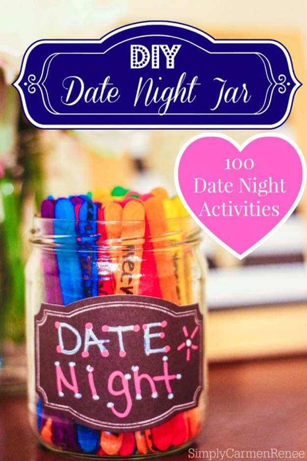 Cool DIY Gifts to Make For Your Boyfriend - DIY Date Night Jar for 100 Great Dates - Easy, Cheap and Awesome Gift Ideas to Make for Guys - Fun Crafts and Presents to Give to Boyfriends - Men Love These Gift Card Holders, Mason Jar Kits, Thoughtful Handmade Christmas Gifts - DIY Projects for Teens http://diyprojectsforteens.com/diy-gifts-boyfriend