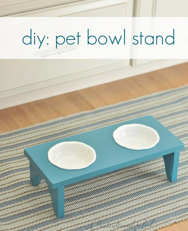DIY Projects for Your Pet - Cheap and Easy Pet Bowl Stand- Cat and Dog Beds, Treats, Collars and Easy Crafts to Make for Toys - Homemade Dog Biscuits, Food and Treats - Fun Ideas for Teen, Tweens and Adults to Make for Pets http://diyprojectsforteens.com/diy-projects-pets