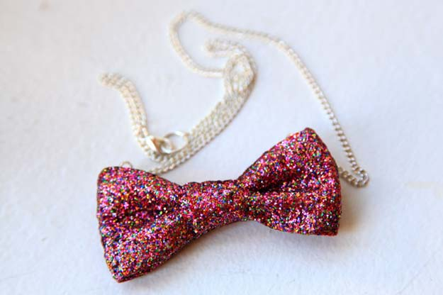 Cool Glue Gun Crafts and DIY Projects - DIY No-Sew Glitter Bow Necklace - Creative Ways to Use Your Glue Gun for Awesome Home Decor, DIY Gifts , Jewelry and Fashion - Fun Projects and Easy, Cheap DIY Ideas for Kids, Adults and Teens - Handmade Christmas Presents on A Budget