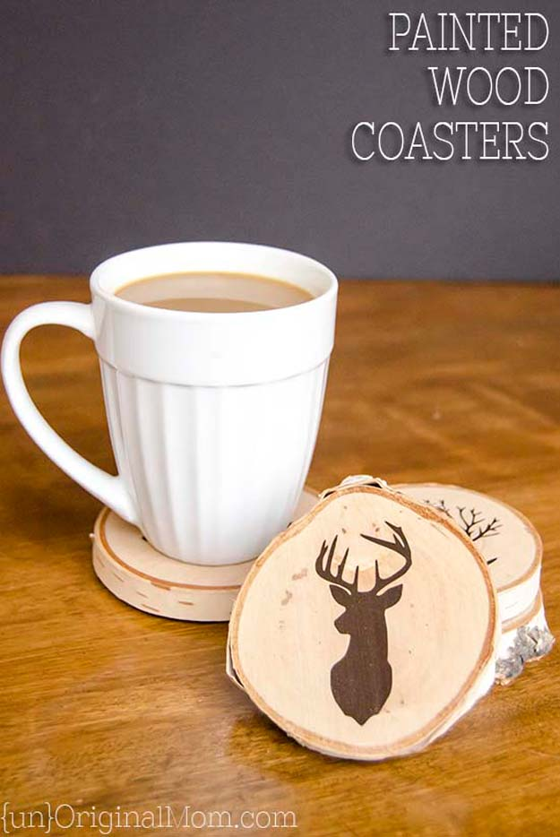DIY Christmas Presents To Make For Parents - DIY Painted Wood Slice Coasters - Cute, Easy and Cheap Crafts and Gift Ideas for Mom and Dad - Awesome Things to Make for Mothers and Fathers - Dollar Store Crafts and Cool Things to Make on A Budger for the Holidays - DIY Projects for Teens http://diyprojectsforteens.com/diy-christmas-gifts-parents