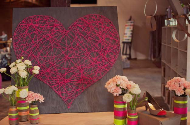 DIY Wall Art Ideas for Teen Rooms - DIY String Heart - Cheap and Easy Wall Art Projects for Teenagers - Girls and Boys Crafts for Walls in Bedrooms - Fun Home Decor on A Budget - Cool Canvas Art, Paintings and DIY Projects for Teens