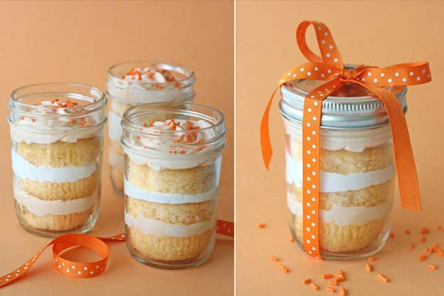 Cute DIY Mason Jar Gift Ideas for Teens - DIY Orange Sprinkled Cake in a Jar - Best Christmas Presents, Birthday Gifts and Cool Room Decor Ideas for Girls and Boy Teenagers - Fun Crafts and DIY Projects for Snow Globes, Dollar Store Crafts and Valentines for Kids