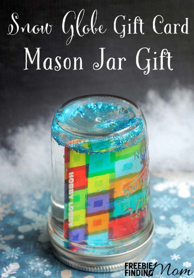 Cute DIY Mason Jar Gift Ideas for Teens - DIY Snow Globe Gift Card Mason Jar Gift - Best Christmas Presents, Birthday Gifts and Cool Room Decor Ideas for Girls and Boy Teenagers - Fun Crafts and DIY Projects for Snow Globes, Dollar Store Crafts and Valentines for Kids