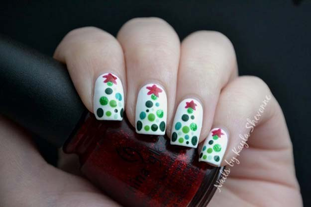 Cool DIY Nail Art Designs and Patterns for Christmas and Holidays - DIY Dotted Christmas Trees - Do It Yourself Manicure Ideas With Christmas Trees, Candy Canes, Snowflakes and Glittery Designs for Holiday Nails - Step by Step Tutorials and Instructions http://diyprojectsforteens.com/holiday-nail-art-patterns/