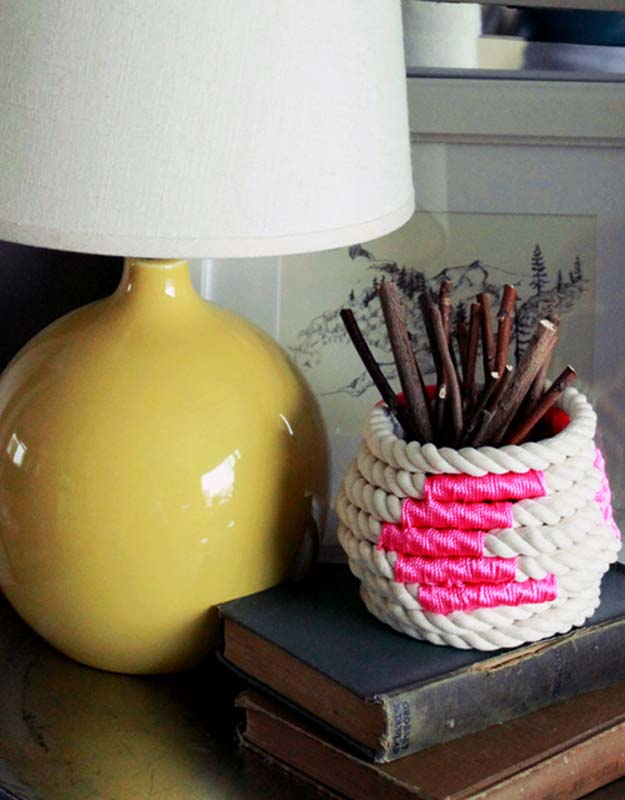 Cool Glue Gun Crafts and DIY Projects - DIY Color-Block Coiled Rope Basket - Creative Ways to Use Your Glue Gun for Awesome Home Decor, DIY Gifts , Jewelry and Fashion - Fun Projects and Easy, Cheap DIY Ideas for Kids, Adults and Teens - Handmade Christmas Presents on A Budget