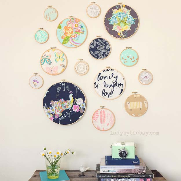 DIY Wall Art Ideas for Teen Rooms - DIY Embroidery Hoop Wall Art - Cheap and