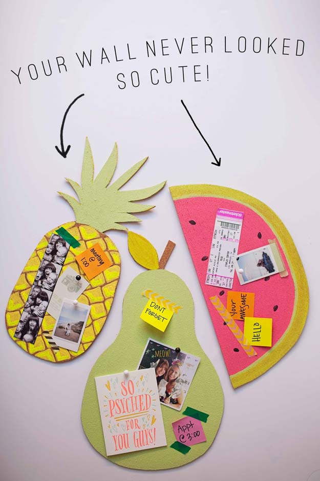 DIY Wall Art Ideas for Teen Rooms - DIY Fruit Bulletin Boards - Cheap and Easy Wall Art Projects for Teenagers - Girls and Boys Crafts for Walls in Bedrooms - Fun Home Decor on A Budget - Cool Canvas Art, Paintings and DIY Projects for Teens