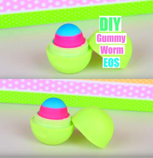 Best DIY EOS Projects - DIY EOS out of Gummy Worms - Turn Old EOS Containers Into Cool Crafts Ideas Like Lip Balm, Galaxy, Gumball Machine, and Watermelon - Fun, Cheap and Easy DIY Projects Tutorials and Videos for Teens, Tweens, Kids and Adults http://diyprojectsforteens.com/diy-eos-projects